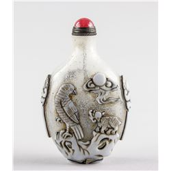 Chinese Peking Glass Relief Carved Snuff Bottle