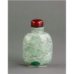 Chinese Green Hardstone Carved Snuff Bottle