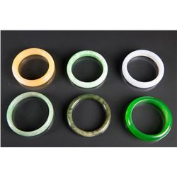6 Pieces Chinese Hardstone Carved Bangles