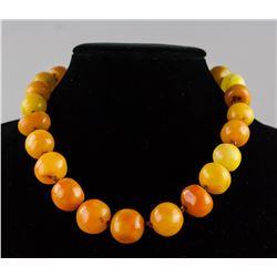 Chinese Yellow Orange Amber Necklace