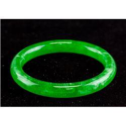 Burma Green Jadeite Carved Bangle