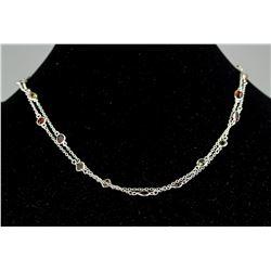 Sterling Silver Garnet & Stones Necklace