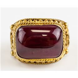 Chinese Gilt Ruby Ring with Qianlong Mark
