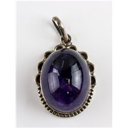 Chinese Sterling Silver Lavender Stone Pendant