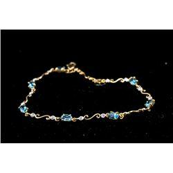 10kt Blue Topaz (2.21ct) Diamond (0.04ct) Bracelet