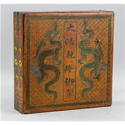 Chinese Lacquer Wood Dragon Box Qianlong Mark