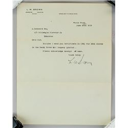 1919 L.W. Brown Letter for Smoky Oil Company Stock