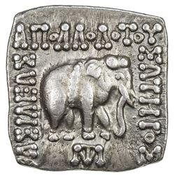 INDO-GREEK: Apollodotus I, ca. 180-160 BC, AR square drachm (2.44g). EF