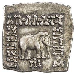 INDO-GREEK: Apollodotus I, ca. 180-160 BC, AR square drachm (2.42g). EF