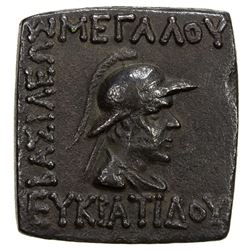INDO-GREEK: Eukratides I, 171-135 BC, AE square quadruple (7.95g). EF