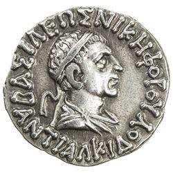 INDO-GREEK: Antialkides, ca. 115-95 BC, AR drachm (2.46g). EF