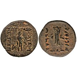 INDO-GREEK: Dionysios, ca.65-55 BC, AE unit (14.35g), Bop-2, Apollo standing, F-VF
