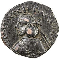 INDO-PARTHIAN: Orthagnes, ca. 25-55, AE tetradrachm (8.64g). VF