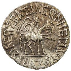 INDO-SCYTHIAN: Azes I, ca. 57-35 BC, AR tetradrachm (9.33g). EF