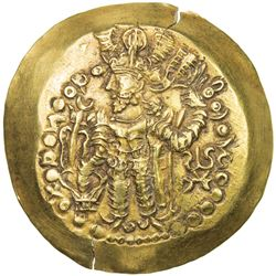 "KUSHANO-SASANIAN: ""Kidara"", late 4th century, AV scyphate dinar (3.52g). EF"