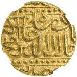 MUGHAL: Akbar I, 1556-1605, AV mohur (10.85g), Jaunpur, AH986. NGC MS64