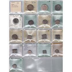MUGHAL: Akbar I, 1556-1605, LOT of 16 silver coins
