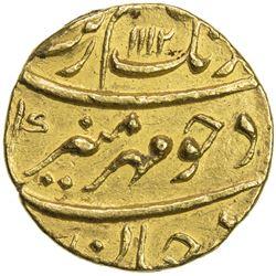 MUGHAL: Aurangzeb, 1658-1707, AV mohur (11.04g), Surat, AH1112 year 44. EF