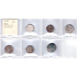 MUGHAL: Rafi-ud-Darjat, 1719, LOT of 6 silver rupees