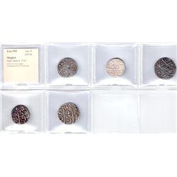 MUGHAL: Shah Jahan II, 1719, LOT of 5 silver rupees