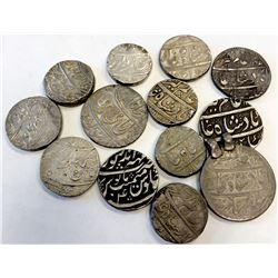MUGHAL: Alamgir II, 1754-1759, LOT of 13 rupees