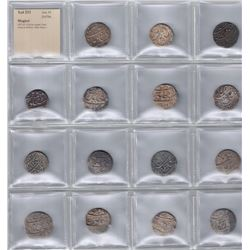 MUGHAL:LOT of 15 silver rupees