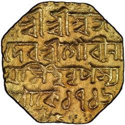 ASSAM: Gaurinatha Simha, 1780-1796, AV octagonal mohur, SE1716. PCGS AU53