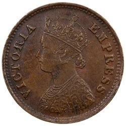 DHAR: Anand Rao III, 1860-1898, AE 1/2 pice, 1887. AU