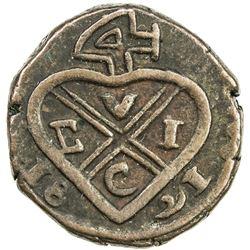 BOMBAY PRESIDENCY: AE 1/2 pice (3.82g), Bankot, 1821//1821. VF