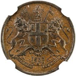 BRITISH INDIA: William IV, 1830-1837, AE 1/12 anna, 1835(m). NGC AU58