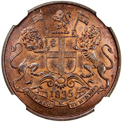 BRITISH INDIA: William IV, 1830-1837, AE 1/4 anna, 1835 (c). NGC MS65