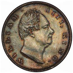 BRITISH INDIA: William IV, 1830-1837, AR rupee, 1835(c). PCGS MS63