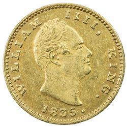 BRITISH INDIA: William IV, 1830-1837, AV mohur, 1835(c). AU