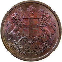 BRITISH INDIA: Victoria, Queen, 1837-1876, AE half anna, 1845. NGC MS64