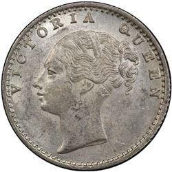 BRITISH INDIA: Victoria, Queen, 1837-1876, AR 1/4 rupee, 1840(c). PCGS MS63