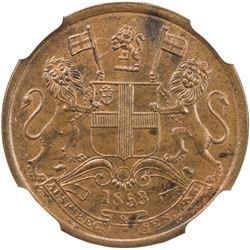 BRITISH INDIA: Victoria, Queen, 1837-1876, AE 1/2 pice, 1853(c). NGC MS62