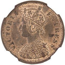 BRITISH INDIA: Victoria, Empress, 1876-1901, AE 1/2 pice, 1885(c). NGC MS62