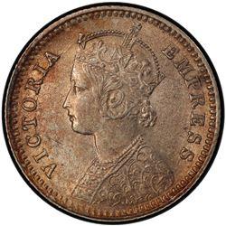 BRITISH INDIA: Victoria, Empress, 1876-1901, AR 1/4 rupee, 1882-C. PCGS MS62