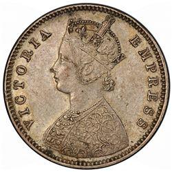 BRITISH INDIA: Victoria, Empress, 1876-1901, AR 1/2 rupee, 1884(b). PCGS AU50