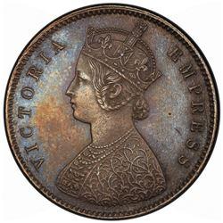 BRITISH INDIA: Victoria, Empress, 1876-1901, AR 1/2 rupee, 1892-C. PCGS MS62