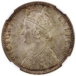BRITISH INDIA: Victoria, Empress, 1876-1901, AR rupee, 1889-B. NGC MS65