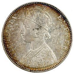 BRITISH INDIA: Victoria, Empress, 1876-1901, AR rupee, 1897-B. EF