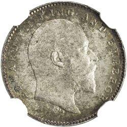 BRITISH INDIA: Edward VII, 1901-1910, AR 2 annas, 1908(c). NGC MS65