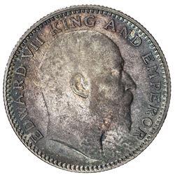 BRITISH INDIA: Edward VII, 1901-1910, AR 1/2 rupee, 1905(c). AU