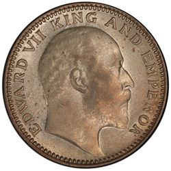 BRITISH INDIA: Edward VII, 1901-1910, AR 1/2 rupee, 1907(c). PCGS AU55