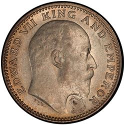 BRITISH INDIA: Edward VII, 1901-1910, AR 1/2 rupee, 1910(c). PCGS AU58