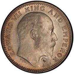 BRITISH INDIA: Edward VII, 1901-1910, AR 1/2 rupee, 1910(c). PCGS AU58
