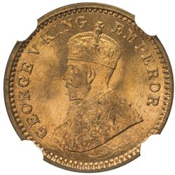 BRITISH INDIA: George V, 1910-1936, AE 1/12 anna, 1917(c). NGC MS67