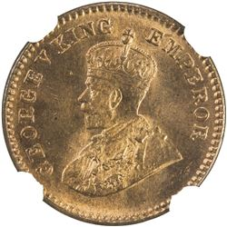 BRITISH INDIA: George V, 1910-1936, AE 1/12 anna, 1933(c). NGC MS66