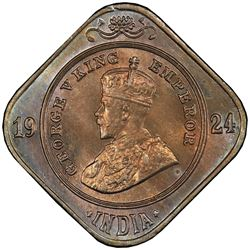 BRITISH INDIA: George V, 1910-1936, 2 annas, 1924(b). PCGS MS64